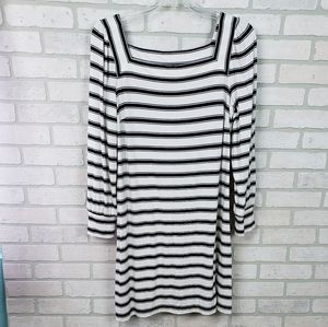 Loft Dress Long Sleeve Striped Black/White LG